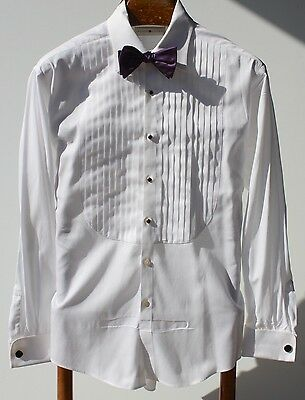 Joseph Abboud 16/34-35 White Egyptian Cotton 10-Pleat French Cuff Tuxedo Shirt