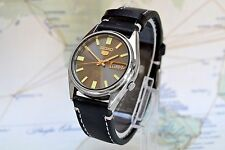Vintage Automatic Seiko 5 Men's watch Black Dial Day Date