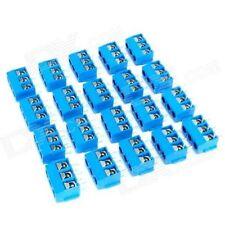 3 PIN PCB Mount Screw Terminal Block Connectors - Blue (15 pcs)