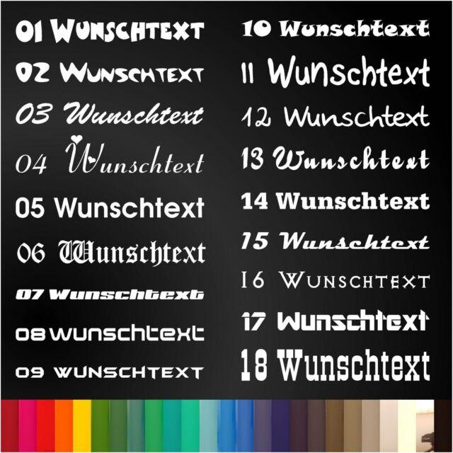 Wunschtext Aufkleber, Dein Text, 18 Schriftarten, 25 Farben, 20x10 cm, HQ Folie