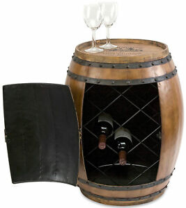 Napa Vineyard Barrel Table Enclosed Wine Rack Bar Metal