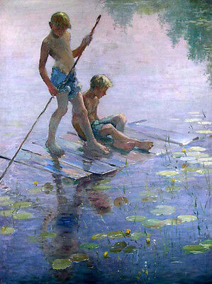 Nice oil painting young boys on The Raft on summer river landscape canvas 36""