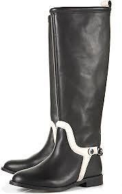 damen PAX TOPSHOP SOLD OUT LEATHER  300 CHAIN RIDING Stiefel schwarz Weiß 38 7 US