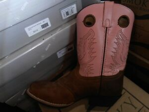 c7f540e53f7 Details about Smoky Mountain Youth Girls Brown Sedona Leather PINK Shafts  Cowboy Boots SALE!!!