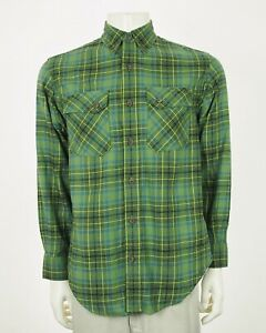 Duluth-Trading-Co-Free-Swingin-039-Green-Plaid-Flannel-Shirt-Mens-Small
