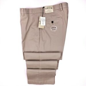 Orvis-Chinos-34x32-Khaki-Flat-Front-Trim-Fit-Mens-New-Nwt-Sz-Size-Cotton-Beige