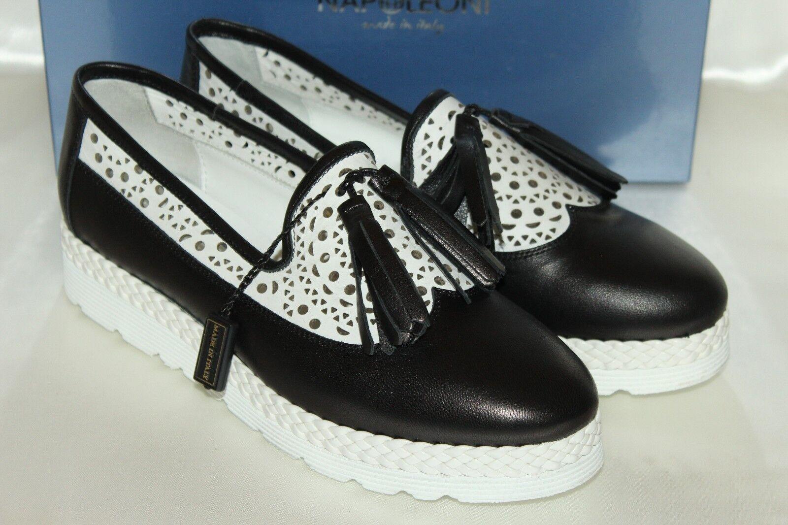 NEW NIB NAPOLEONI Black White Italian Leather Tassel Platform Loafers EU38 ITALY