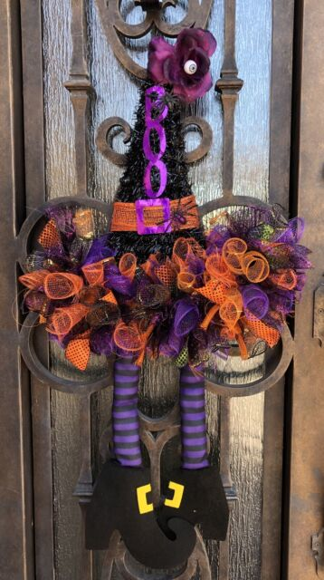 Witch Hat The Witch is In Witch Hat Door Hanger Witch Hat with Sign,Witch Hat with handmade bow Halloween Witch Hat Deco Mesh Witch Hat