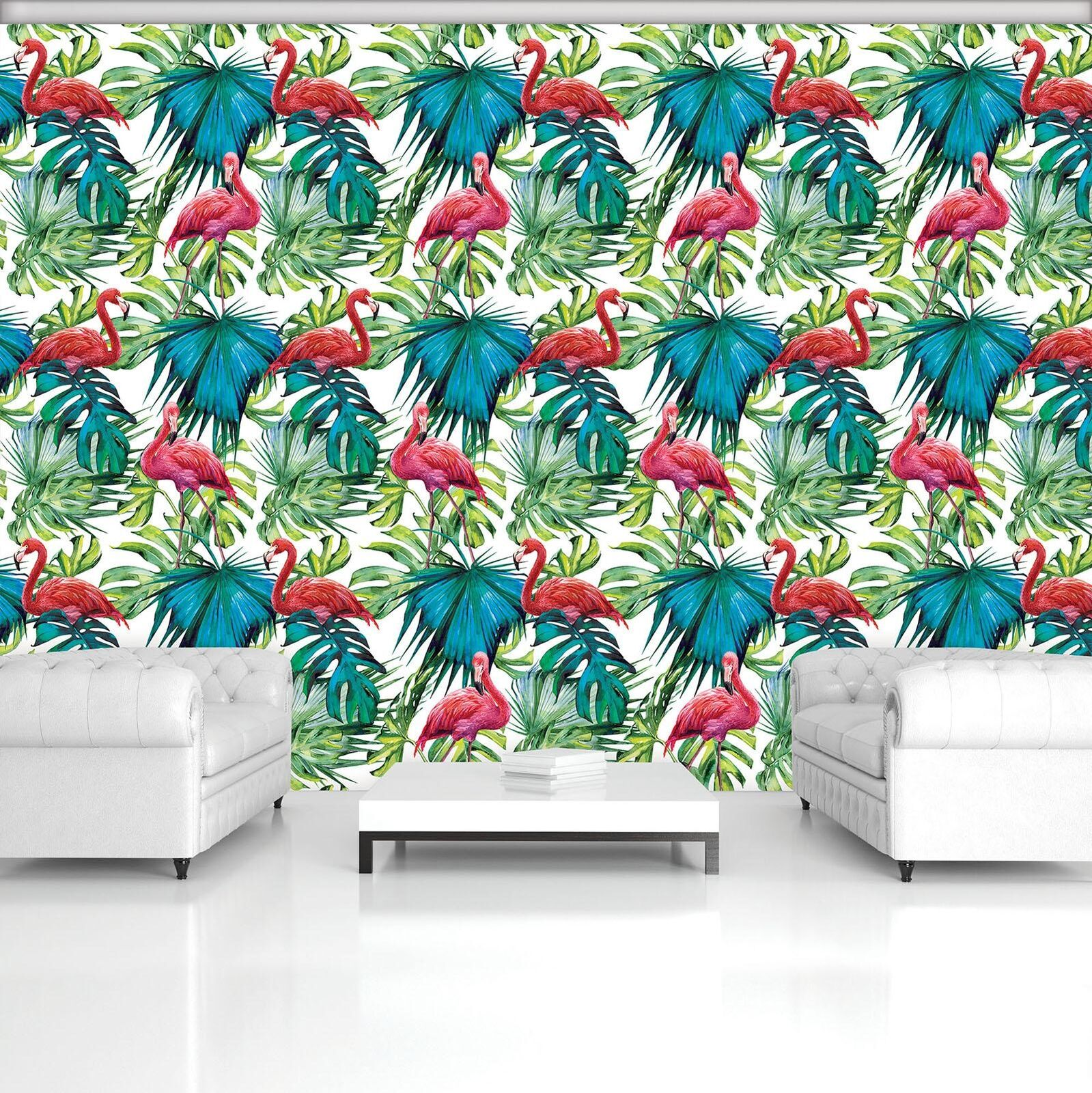 Photo Wallpaper Mural Non-woven 11083_VEN Flamingos on the leaves Cactus Flower
