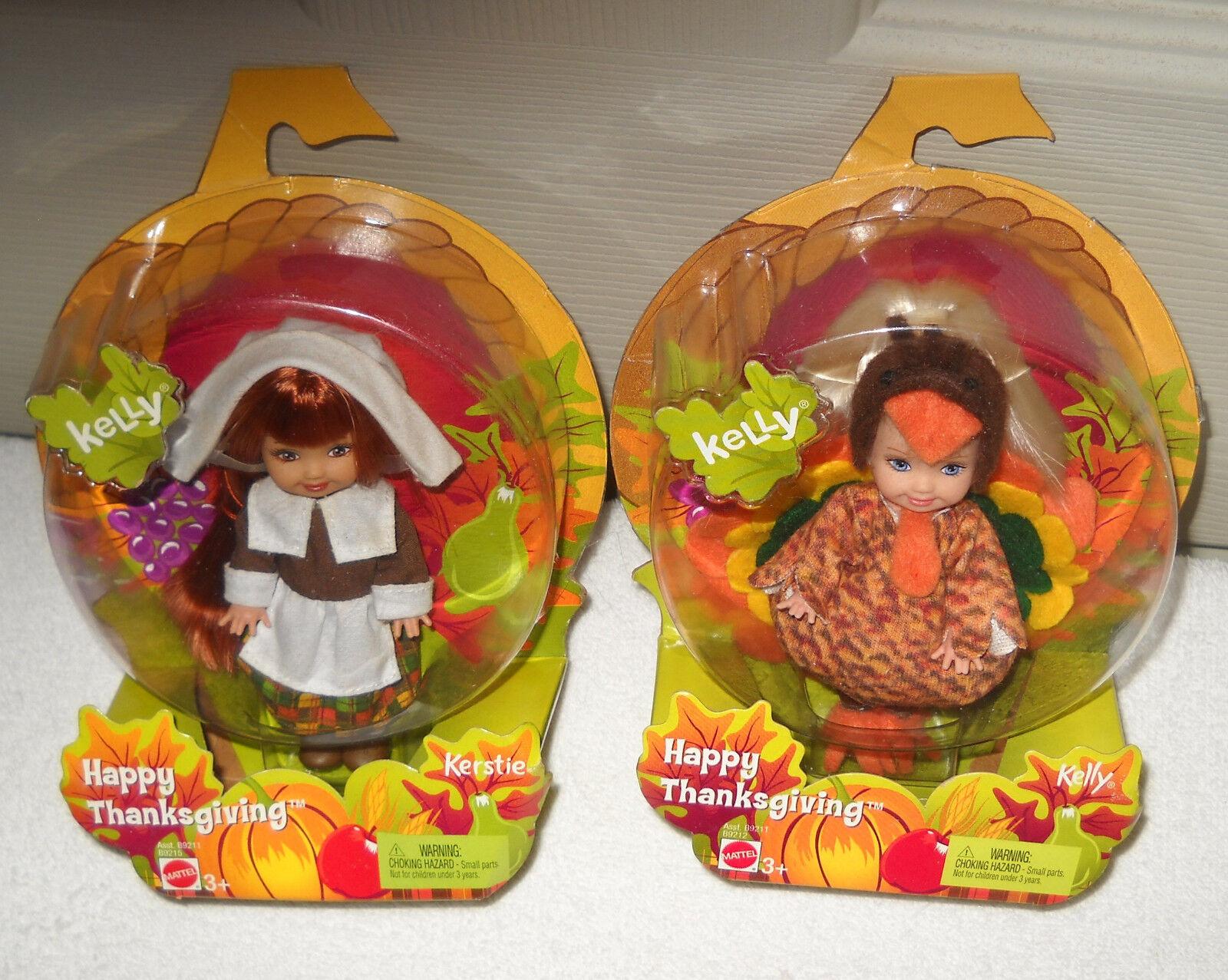 Nunca quitado de la Caja Mattel Barbie Feliz Acción de Gracias Kelly & kerstie muñecas
