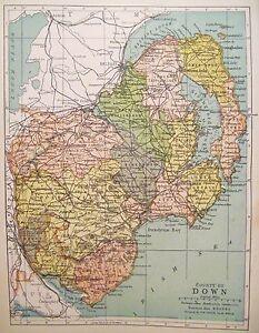 Irish Map County DOWN Belfast Newcastle No Ireland Color PW Joyce ...