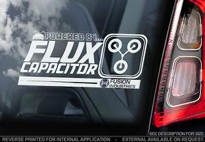 Betrieben-von-Flux-Kondensator-Auto-Fenster-Sticker-Zurueck-in-die-Zukunft