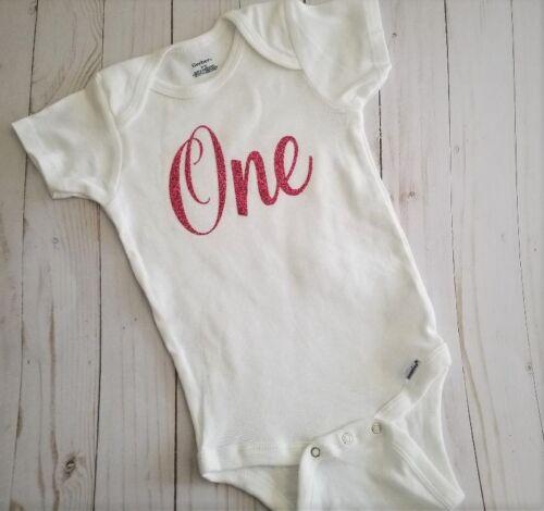 """Long Sleeve First 1st Birthday Onesie /""""One/"""" Gerber Onesie"""