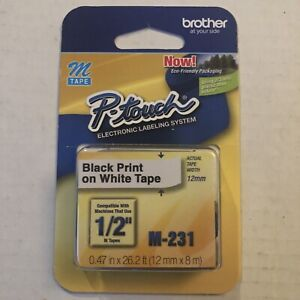 """Brother M231 P-Touch Label Tape 1/2"""" Black on White M-231"""