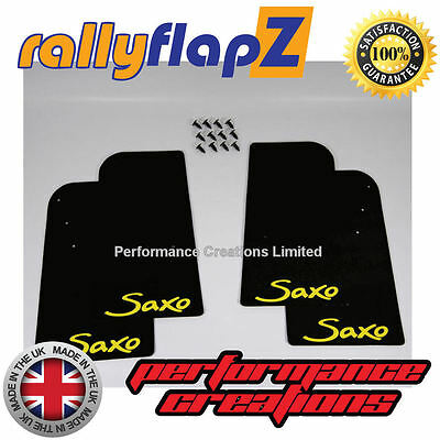 2007 on Mudflaps rallyflapZ Black 4mm PVC Logo Yellow Mud Flaps to fit FIAT 500