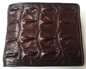 Genuine Real Crocodile Alligator Backbone Leather Skin Man Bifold Wallet Black