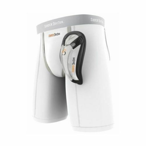Shock Doctor Core Compression Shorts White with Bio-Flex Groin Guard Cup
