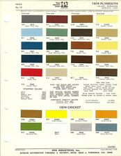 1974 PLYMOUTH VALIANT BARRACUDA SATELLITE FURY & CRICKET PAINT CHIPS (PPG)