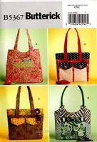 Butterick Sewing Pattern B5367 Totes Bags Purse Handbags 5367