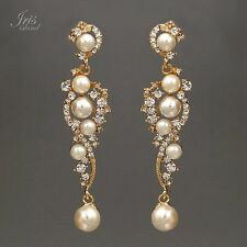 18k Gold Plated Gp Clear Crystal Pearl Wedding Bridal Drop Dangle Earrings 00871