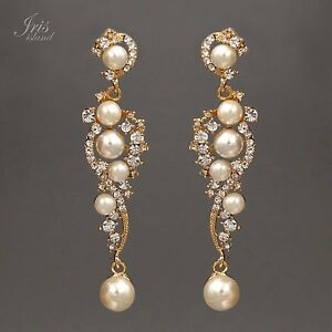 Details About 18k Gold Plated Gp Clear Crystal Pearl Wedding Bridal Drop Dangle Earrings 00871