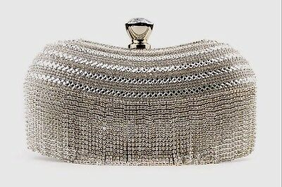 Silver Curtain Design Rhinestone CRYSTAL PARTY CLUTCH PURSE COCKTAIL EVENING BAG