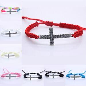 Details About Adjustable Cross Charm Bracelet Diy Red Cord Braided Bracelets Bangles Gift
