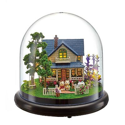Mini glass DIY Wooden Dollhouse Miniature with LED Craft Gift Romantic Manor