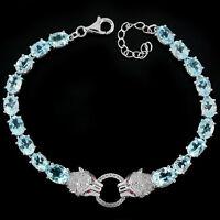 Sterling Silver 925 Genuine Natural Sky Blue Topaz Tiger Bracelet 7.25-8.5 Inch