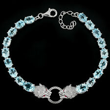 Sterling Silver 925 Genuine Natural Sky Blue Topaz Tiger Bracelet 7.25-8.5 Inch
