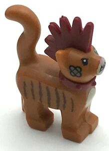 Lego Dark Orange Cat Standing with Dark Red Spiky Mohawk Minifigure Lot Of 2
