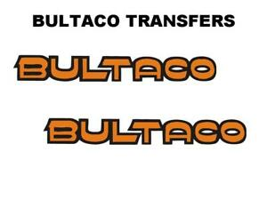 Bultaco Tank Transfers Decals Motorcycle Pair D330 Outline Black Orange