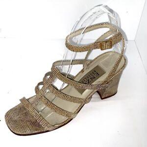 Enzo Angiolini animal Print Leather Block Heel Sandals Size 6