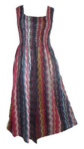 100/% Cotton Long Boho Maxi Dress Sleeveless Party Evening Size 14 16 18 20 22 24