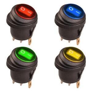 Wippschalter-Rund-EIN-AUS-Wasserdicht-IP65-LED-Beleuchtet-12V-DC-Rot-Blau