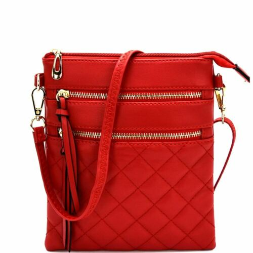 Quilted Multi Pocket PU Leather Cross Body Bag