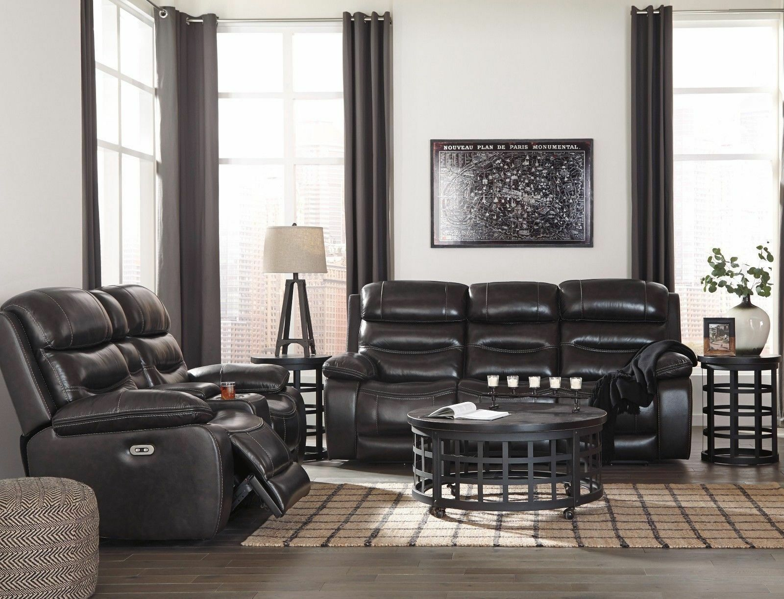 Ashley Furniture Pillement Power Leather Reclining Sofa and Loveseat
