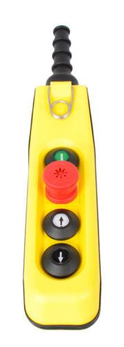 Kransteuerung 4 Tasten: Ein-Taste+Not-Aus+auf//ab 1-Stufig Hängetaster Kran