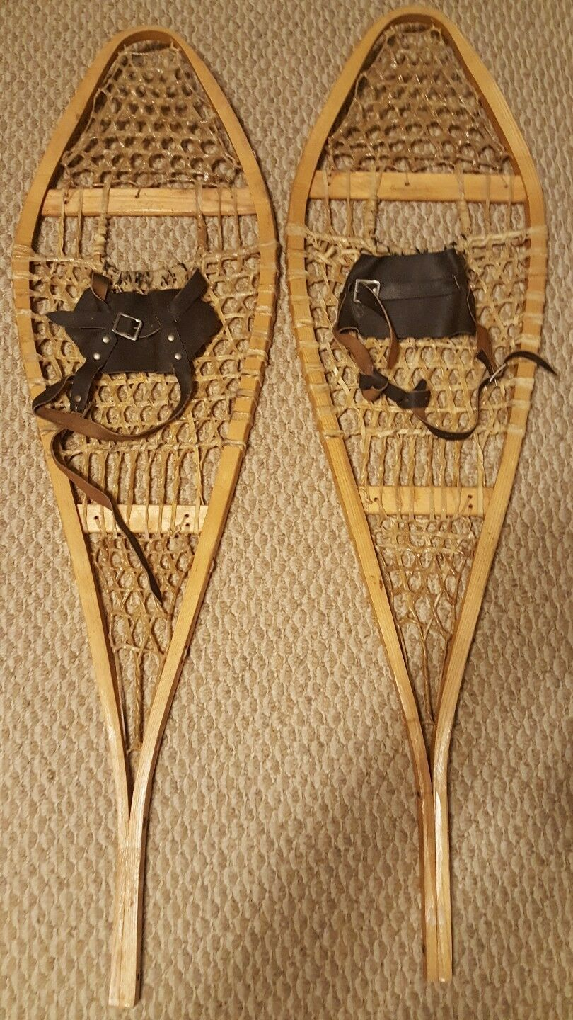 Antique Snowshoes 42  Long with Rawhide Webbing & Wood Frame - BASTIEN BredHERS