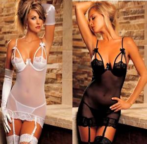 0cda71cc981 Image is loading Sexy-Lingerie-Nightwear-Sleepwear-Underwear-Plus-Thong- Suspenders-