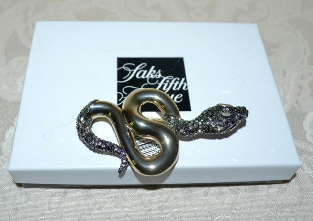NWT $275 Alexis Bittar ELEMENTS Coiled Snake Pin Brooch Crystals 18K Gold Plate