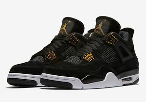 220cc6cbdd026a Nike Air Jordan 4 Retro Royalty IV Sz 4-12 Black Suede Metallic Gold ...