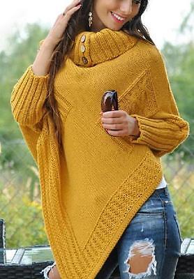 Top Woman Store Thick Heavy Poncho Jersey Turtleneck Warm Jumper Sweater Ein Kunststoffkoffer Ist FüR Die Sichere Lagerung Kompartimentiert