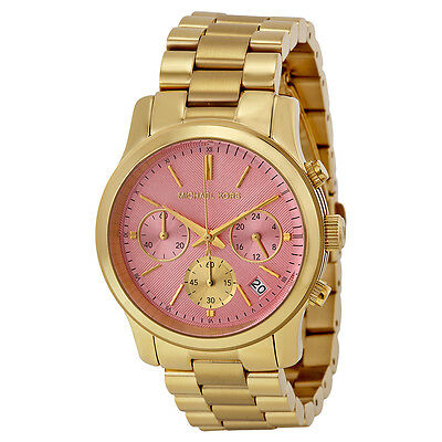Michael Kors Runway Pink Dial Gold-tone Stainless Steel Ladies Watch MK6161
