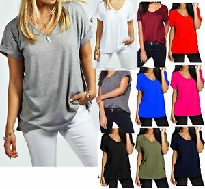 Women-Baggy-Oversized-Loose-Fit-Turn-up-Batwing-Sleeve-Ladies-V-Neck-Top-T-shirt
