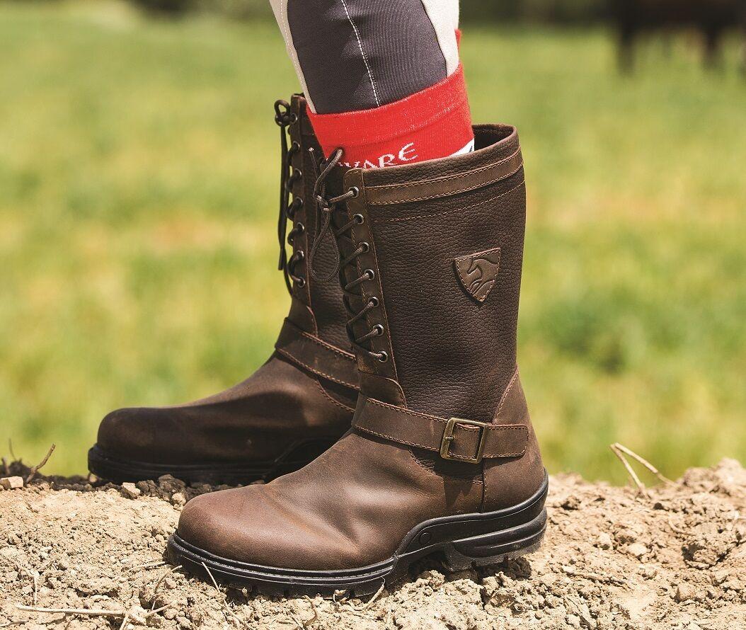 Horseware Corto botas Impermeables De Caminar Patio botas De País marrón cuero 3-11