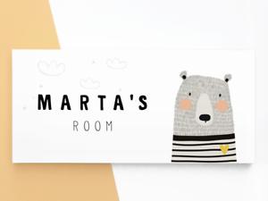 Black White Sign Scandi Grey Bear Wooden Personalised Kids Door Name Plaque