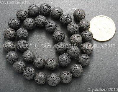 Natural Black Volcanic Lava Gemstone Round Beads 4mm 6mm 8mm 10mm 12mm 15.5''