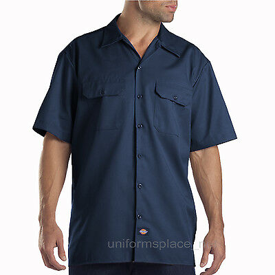 Dickies Work Shirts Men Short Sleeve Button Front Shirt 1574 S - 5XL Solid Color
