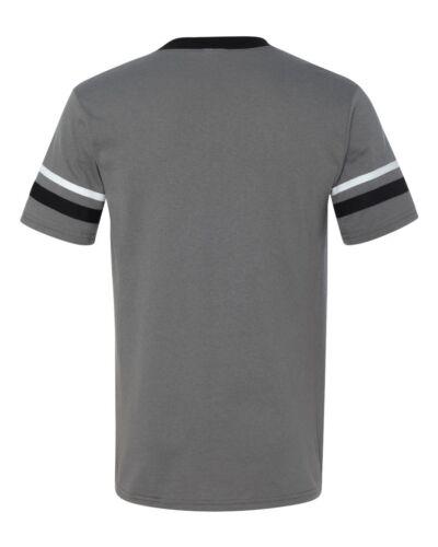 Augusta V-Neck Baseball Jersey Striped Sleeves S-XL 2XL Tee Team Sport Mens 360
